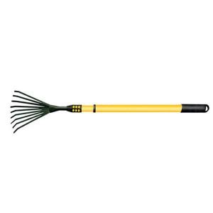 Round spade flower planting tool fallen leaf harrow steel wire harrow raking grass harrow wood handle stainless steel telescopic handle GHT8018